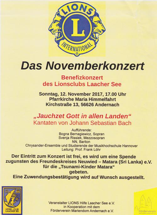 Benefizkonzert des Lionsclubs Laacher See